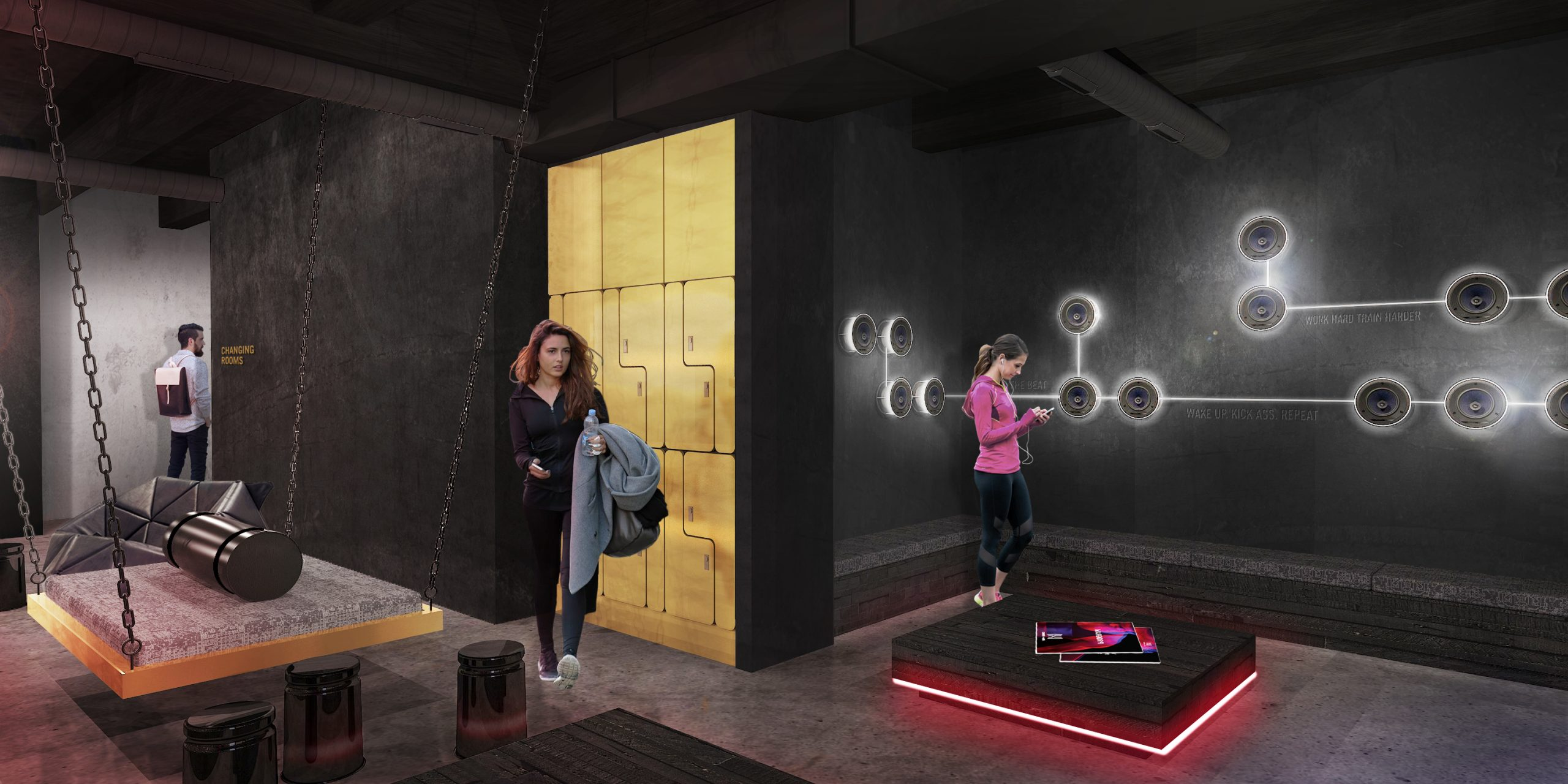 Frauen im Lounge des modernen Fitnessstudios Urban Heroes