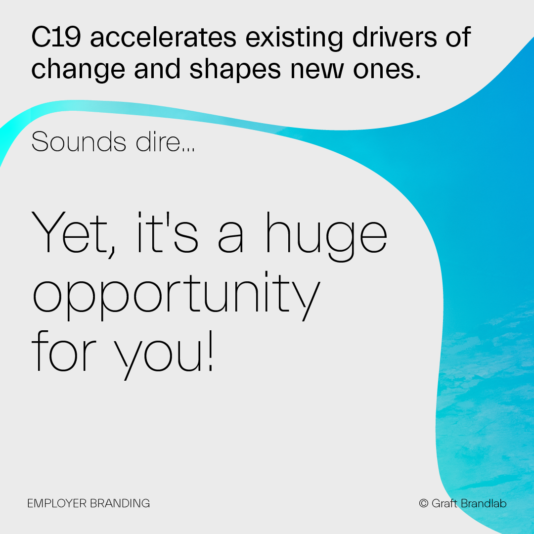 Text: C19 accelerates existing drivers of change and shapes new ones